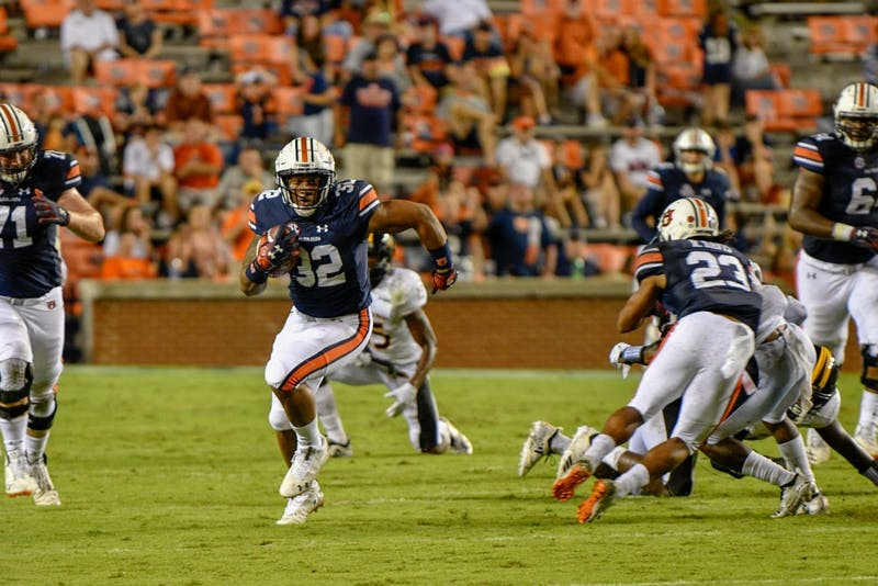 Malik Miller (32) runs the ball during Auburn Football vs. Southern Miss on Saturday, Sept. 29, 2018, in Auburn, Ala.