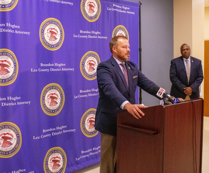 Lee County District Attorney Brandon Hughes holds a press conference on the Aniah Blanchard case. Dec. 2, 2019.