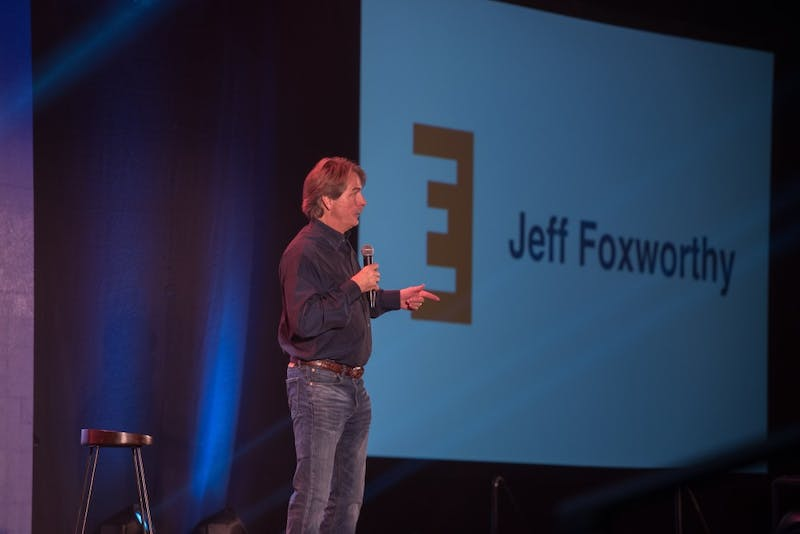Jeff Foxworthy speaks at the kick-off event for Emerge, the comprehensive leadership program that replaced Freshman Leadership Programs, in Auburn, Ala., on Sunday, Aug. 27, 2017.