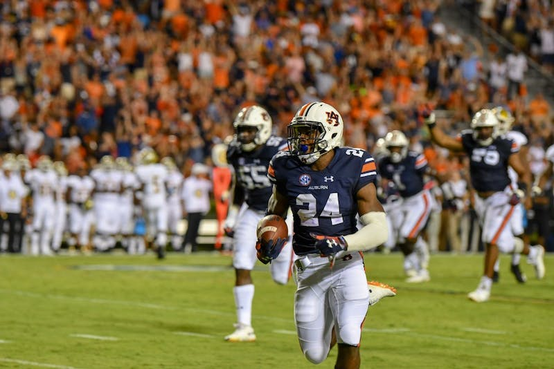 Daniel Thomas (24) runs down the field with the ball after intercepting it during Auburn football vs Alabama State on Saturday, Sept. 8, 2018, in Auburn, Ala.