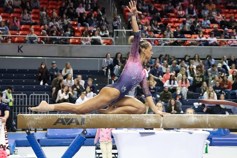 Drew Watson on beam during Auburn University Gymnastics vs. Texas Women's University on Feb. 28, 2020, in Auburn, Ala.