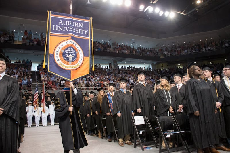 The graduation processional begins on Sunday, May 6, 2018, in Auburn, Ala.
