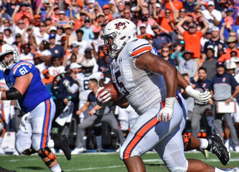 Derrick Brown (5) recovers the ball during Auburn vs. Florida, on Saturday, Oct. 5, 2019, in Gainesville, Fl.