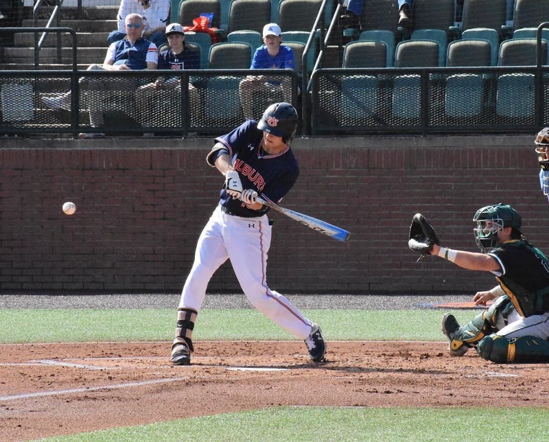 Auburn's Tyler Miller (10) swings during Auburn baseball vs. Wright State on Sunday, March 1, 2020, in Auburn, Ala.