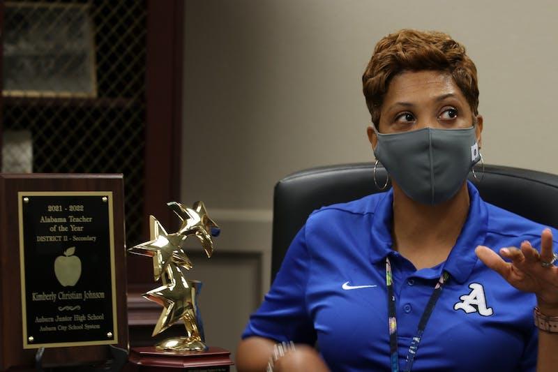 Kimberly Johnson, study skills teacher at Auburn Junior High School, speaks beside her 2021-22 Alabama Teacher of the Year awards on Friday, Aug. 20, 2021, in Auburn, Ala.