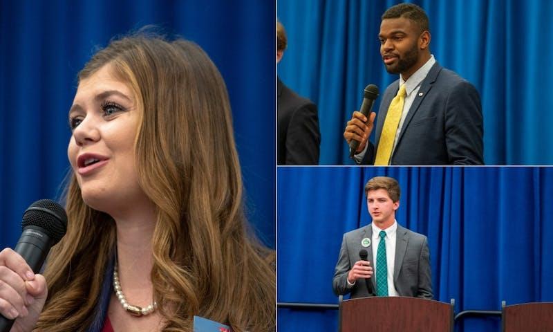 SGA President Mary Margaret Turton, left; Vice President Carlos Smith, top right; and Treasurer Hunter Short, bottom right, participate in a debate.