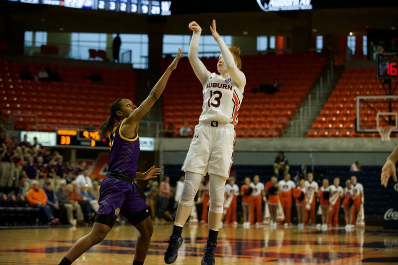 Lauren Hansen (13) takes a shot in Auburn Women's Basketball's win vs. LSU on Feb. 16, 2020 in Auburn, AL