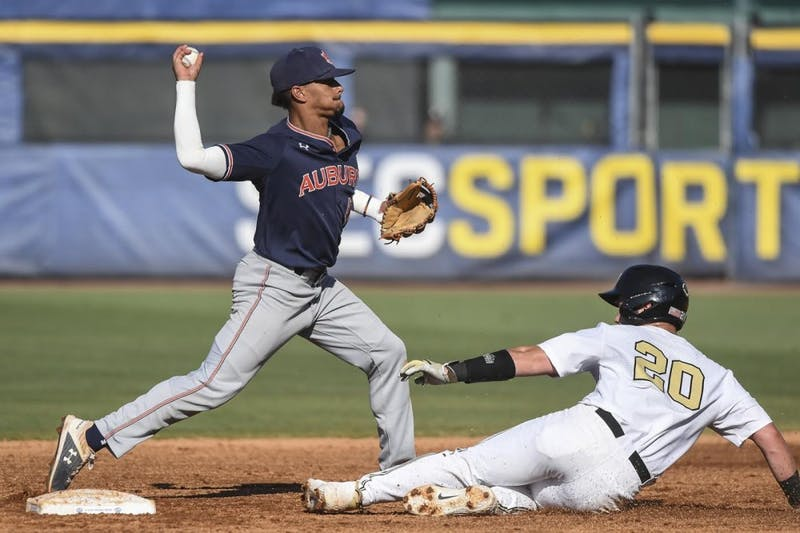Will Holland (17). Auburn baseball vs Vanderbilt during the SEC Baseball Tournament on Wednesday, May 22, 2019, in Hoover, Ala.