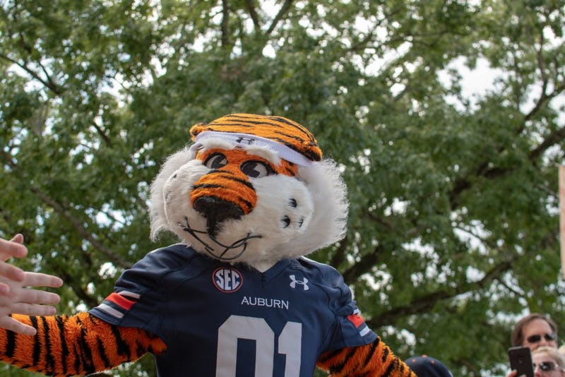 Aubie walks in the Tiger Walk prior to Auburn Football Vs. Southern Miss Saturday, Sept. 29, in Auburn, Ala.