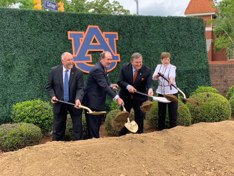 Auburn University administrators and trustees hold groundbreaking ceremony for Tony and Libba Culinary Science Center on Friday, April 12, 2019 in Auburn, Ala.