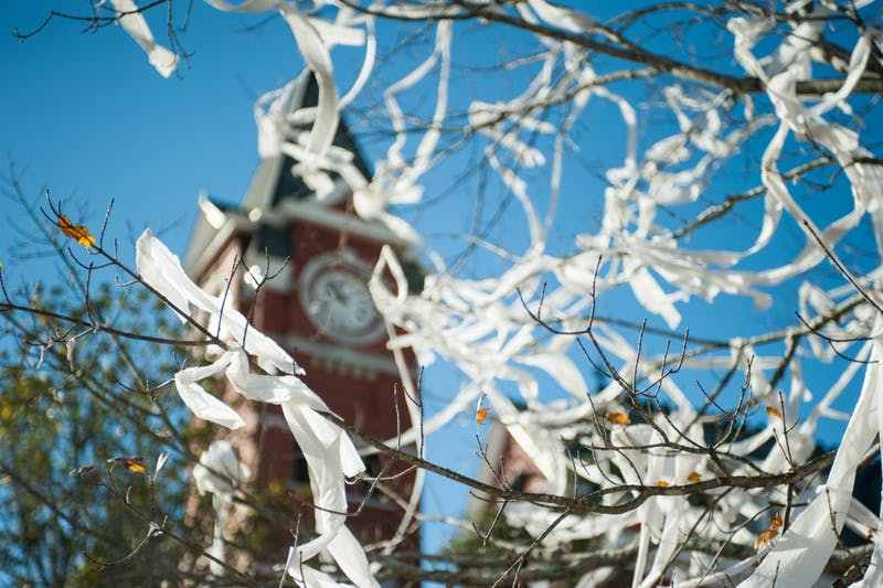 Toilet paper hangs from a tree in front of Samford Hall on Monday, Nov. 27 in Auburn, Ala.