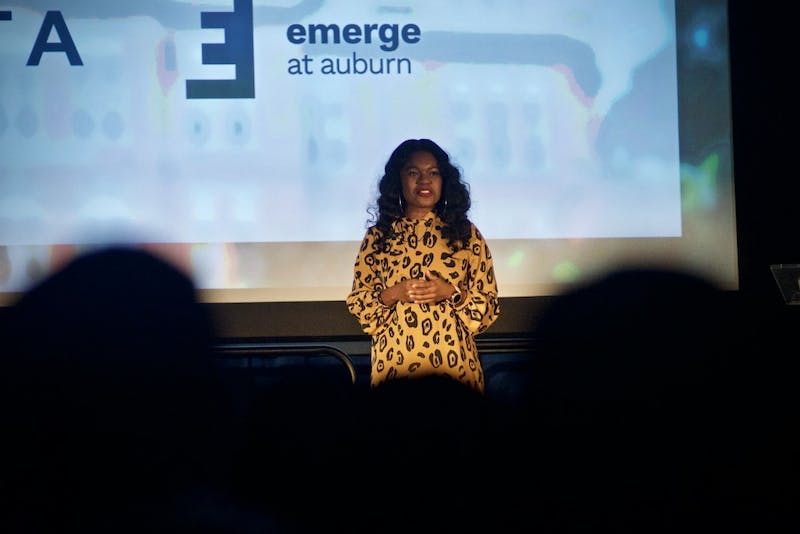 Jordan Blaise speaks during the Delta Emerge Speaker Series, Thursday, Feb. 28, 2019, in Auburn, Ala.