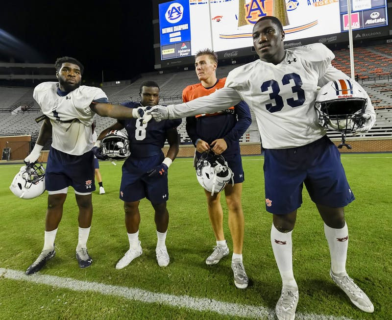 Big Kat Bryant (1), Shaun Shivers (8), Bo Nix (10) and K.J. Britt (33) were voted captains for the season Saturday by their team mates.