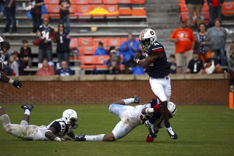 Jashawn Sheffield (16) escapes a tackle during the Auburn vs. Samford game on Nov. 23, 2019, in Auburn, Alabama.