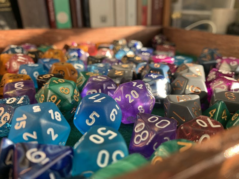 Dungeons and Dragons is a roleplaying game which uses multiple kinds of dice to add randomness and excitement to a fantasy setting.