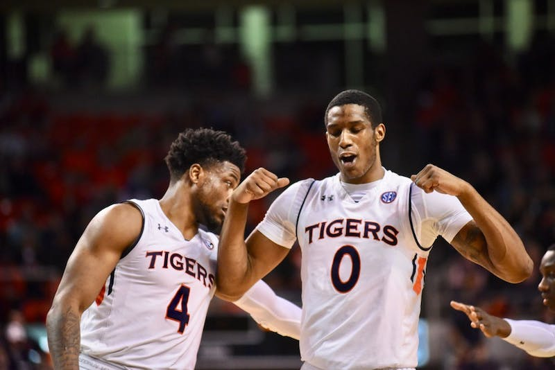 Horace Spencer (0) celebrates during Auburn Men's Basketball vs. Missouri on Wednesday, Jan. 30, 2019, in Auburn, Ala.
