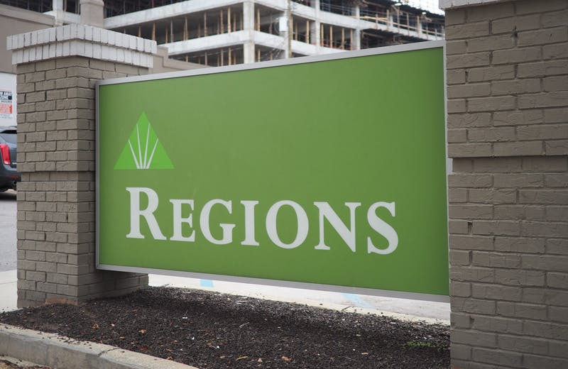 Regions Bank on North College Street on Oct. 27, 2020, in Auburn, Ala.