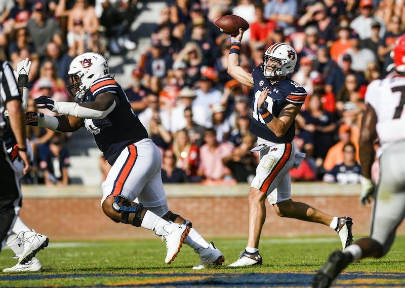 Oct 9, 2021; Auburn, AL, USA; Bo Nix (10) throws the ball during the game between Auburn and Georgia at Jordan-Hare Stadium. Mandatory Credit: Todd Van Emst/AU Athletics