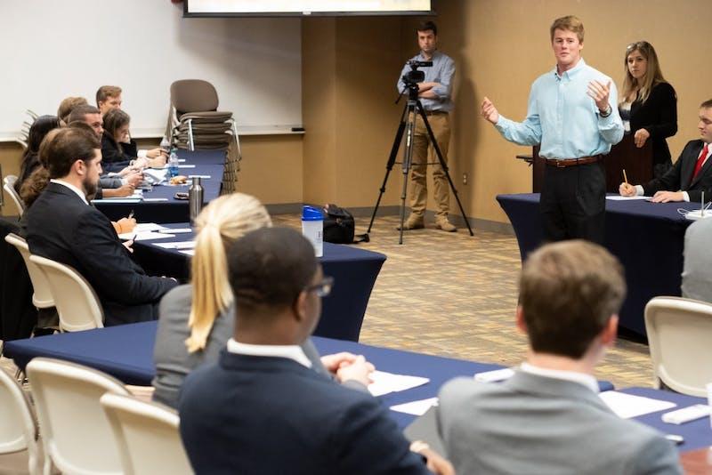 A student speaks during open floor timeat SGA Senate in Auburn, Ala. on Monday, April 23, 2018.