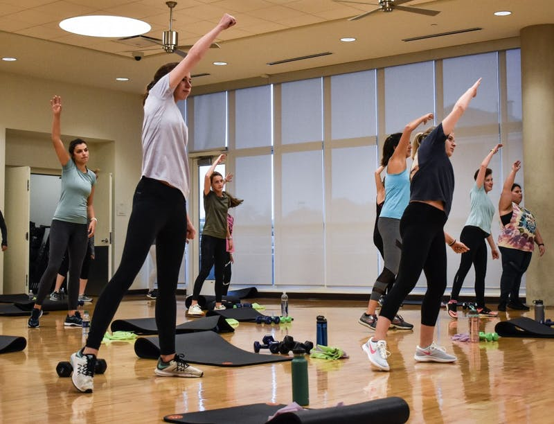 Students workout at a fitness class at the Auburn Wellness and Recreation Center on Oct. 25, 2018, in Auburn, Ala.