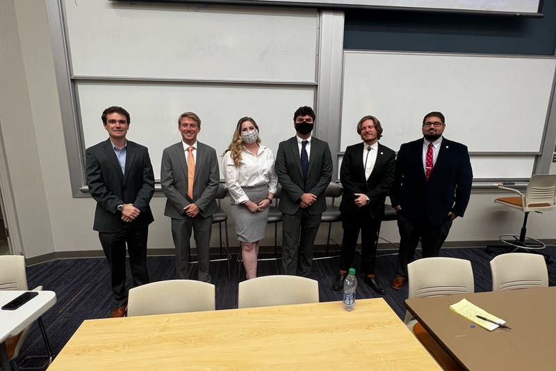 From left to right, Jack Disharoon and Jonathan Stuckey from College Republicans; Joelle Woggerman and Seth Johnson from College Democrats; and Gaines Odom and Keller Williams from Plainsmen for Liberty. These groups discussed six political topics during the Great Debate on Oct. 14, 2021.