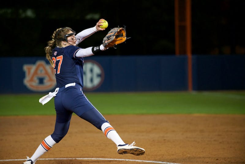 Lexie Handley (27) pitches during Auburn softball vs. Alabama State on Feb. 14, 2020, in Auburn, Ala.