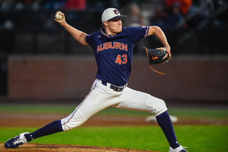 Richard Fitts (43) Auburn Baseball vs. Illinois Chicago Game 3 at Auburn University on Friday, February 15th, 2020. Photo via: Matthew Shannon/Auburn Athletics