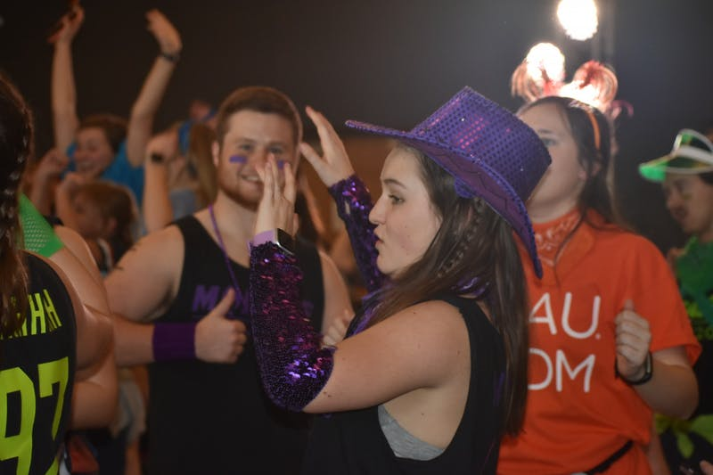 Students participate in AUDM's 2020 Dance Marathon on Feb. 15, 2020 in Auburn, Ala.
