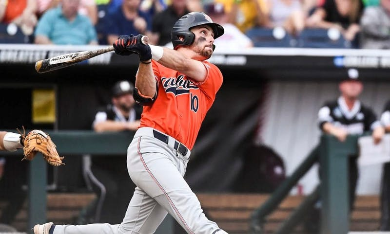 Edouard Julien (10) bats during Auburn baseball vs. Mississippi State on June 16, 2019, in Omaha, Neb.