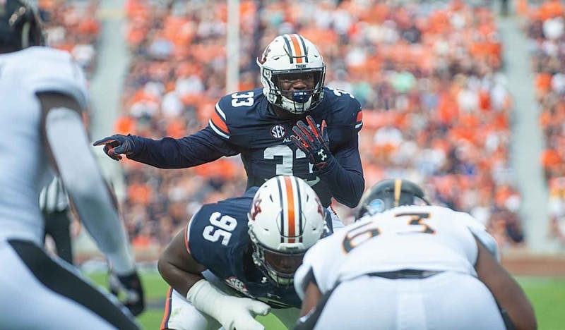 K.J. Britt (33) calls out a play during Auburn Football vs Southern Miss. on Saturday, September, 29, 2018, in Auburn, Ala.