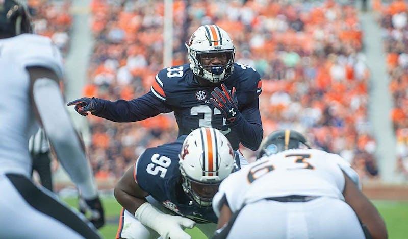 K.J. Britt (33) calls out a play during Auburn Football vs Southern Miss. on Saturday, September, 29, 2018, in Auburn, Ala.