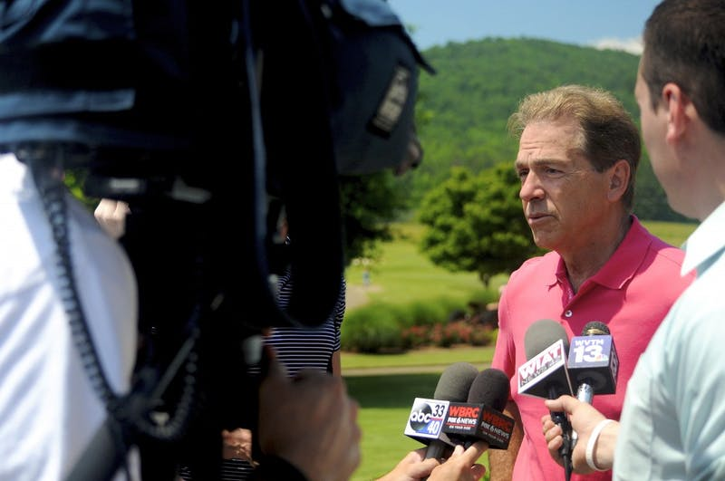 Nick Saban, head football coach at the University of Alabama, is interviewed at Lutzie 43 Invitational Golf Tournament in Sylacauga, Ala. on Tuesday, May 24, 2016.