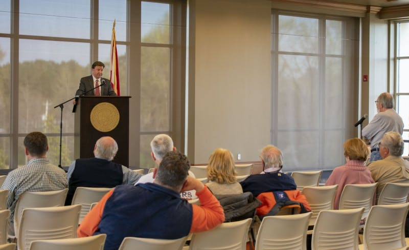 Mike Rogers holds a town hall meeting on March 20, 2019, to address public concerns.