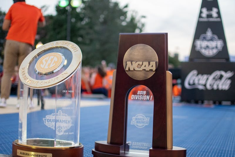 The NCAA Midwest Regional Championship Trophy during Tipoff at Toomer's, on Thursday, Oct. 17, 2019, in Auburn, Ala.