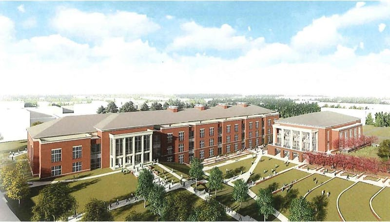 The proposed new Academic and Laboratory Complex next to the new Central Dining Facility.
