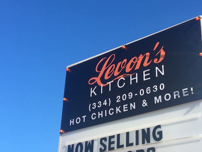 Levon's Kitchen sign sits along Webster Road on Sunday, Oct. 21, 2018, in Auburn, Ala.