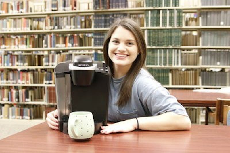 Madison Collins carries her Keurig to save money. (Ellen Jackson | Photographer)