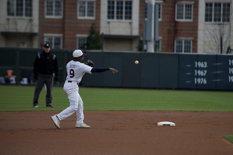 Ryan Bliss (9) throws the ball to first base in Auburn Baseball vs. Wright State on Feb. 28, 2020 in Auburn, AL