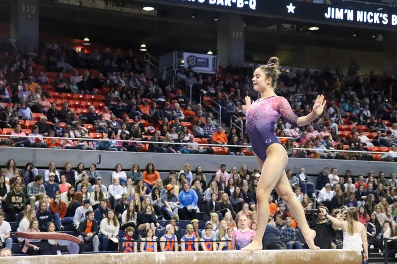 Cassie Stevens on beam during Auburn University Gymnastics vs. Texas Women's University on Feb. 28, 2020, in Auburn, Ala.
