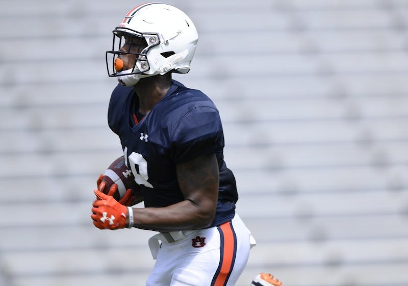 Seth Williams makes a long run after a catch during scrimmage Thursday.Auburn football scrimmage on Thursday, Aug. 9, 2018 in Auburn, Ala.Todd Van Emst/AU Athletics