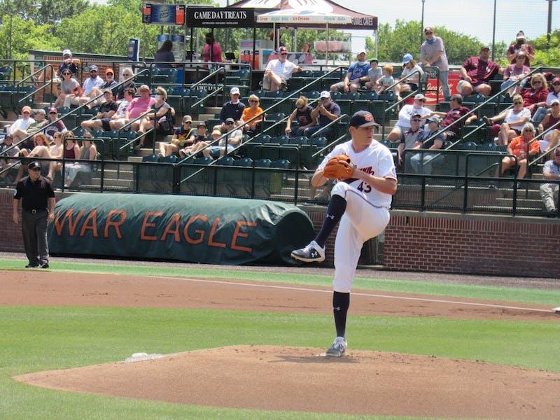 Richard Fitts (43) pitching for Auburn against Texas A&M on May 15, 2021 at Plainsman Park; Auburn, AL
