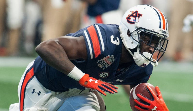 Nate Craig-Myers (3) catches a pass in the second half. Auburn vs UCF on Monday, Jan. 1 in Atlanta, Ga.