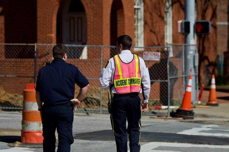 An AFD Incident commander surveys the scene of the leak, on Thursday, Feb. 27, 2020, in Auburn, Ala.