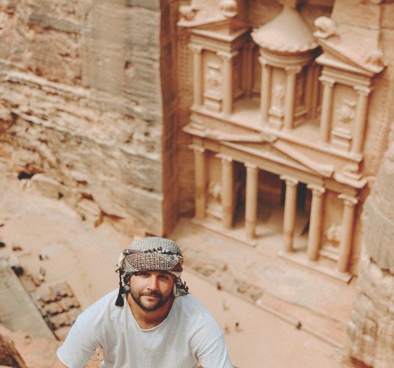 Jonny Bradford in front of Petra, a popular tourist site in Jordan.