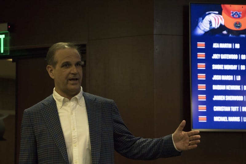 Auburn football defensive coordinator Kevin Steele makes an appearance before head coach Gus Malzahn's press conference on National Signing Day, Feb. 7, 2018.