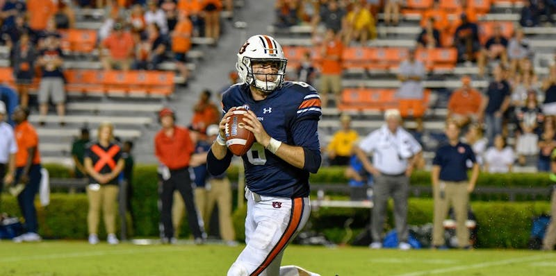 Jarrett Stidham (8) looks to pass during Auburn football vs. Southern Miss on Sept. 29, 2018, in Auburn, Ala.