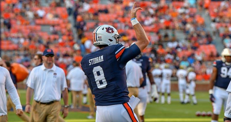 Jarrett Stidham (8) warms up before Auburn football vs. Alabama State on Sept. 8, 2018, in Auburn, Ala.