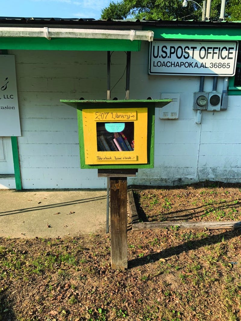 The Little Free Library located outside the Loachapoka Post Office on Tuesday, Oct. 15, 2019 in Auburn, Ala.
