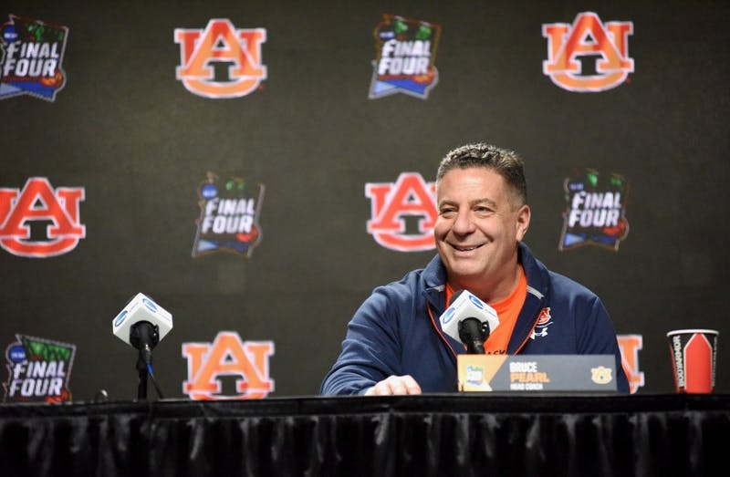Auburn head coach Bruce Pearl answers questions during a press conference on Thursday, April 4, 2019, in Minneapolis, Minn.