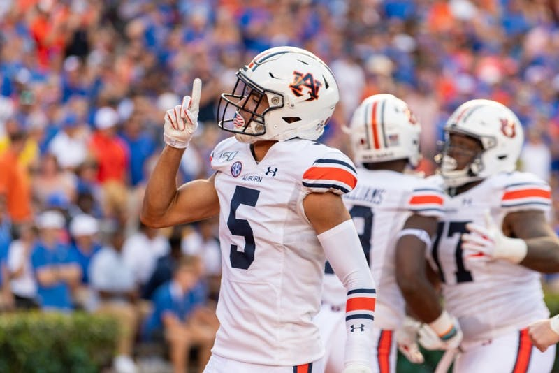 Anthony Schwartz (5) celebrates following a touchdown during Auburn vs. Florida, on Saturday, Oct. 5, 2019, in Gainesville, Fla.